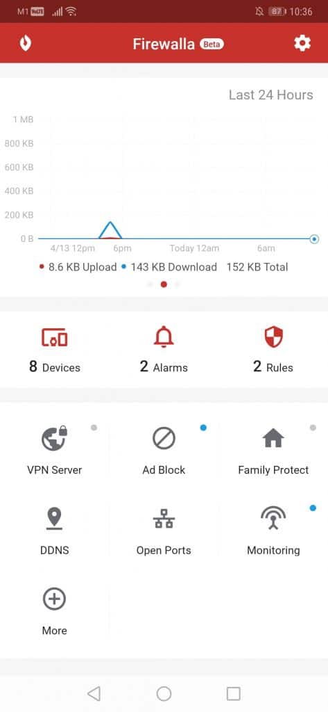 Firewalla firewall appliance - UI 1 (dashboard)