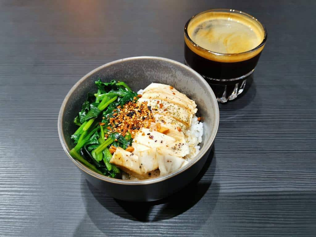 Seedling Cafe - chicken breast rice bowl with Americano coffee