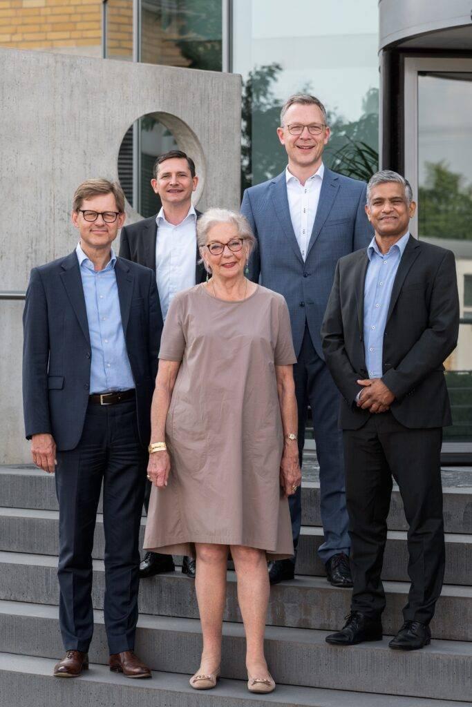 20210701 HIMA Management. Picture: By L. Kehrel for HIMA. From left to right: Steffen Philipp (Managing Partner), Dr Michael Löbig (CFO), Ingrid Philipp (Shareholder), Jörg de la Motte (CEO), Sankar Ramakrishnan (former CEO).